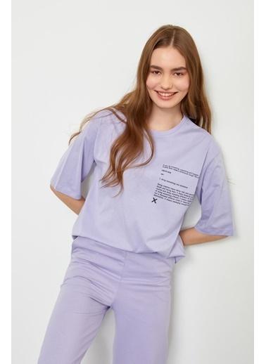 Setre Bej T-Shirt Eşofman Altı Takım Lila